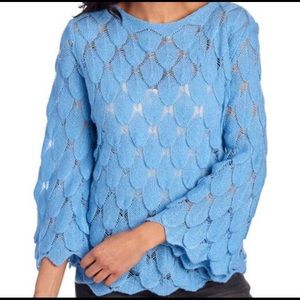 V Cristina Blue Feather Look Bell Sleeve Sweater